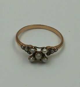 Antique Victorian 10K Yellow Gold Seed Pearl Ring Size 7.5