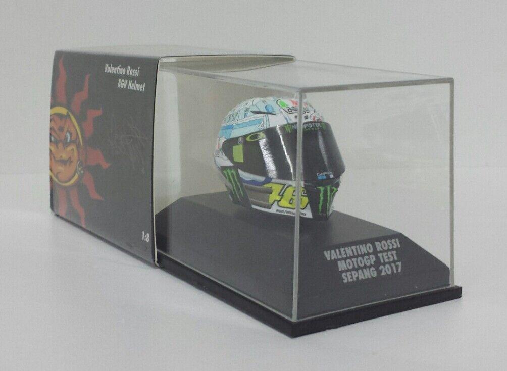 MINICHAMPS VALENTINO ROSSI MODEL AGV HELMET HELMET 1 8 TEST MOTOGP SEPANG 2017