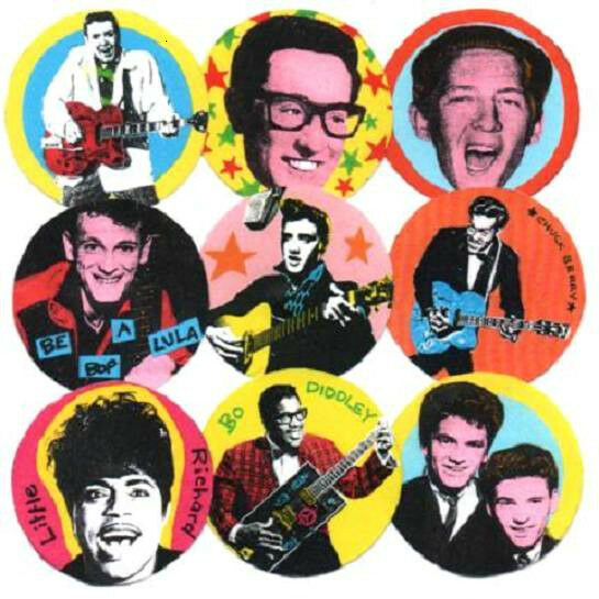 9 ROCK'n'ROLL  BADGES. GENE VINCENT, CHUCK BERRY, BO DIDDLEY, BUDDY HOLLY + 5