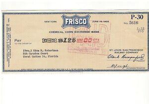 1955 Frisco Railroad, St Louis San Francisco RR  Stock Dividend Check New York
