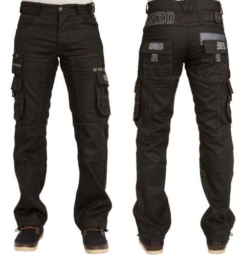 Da Uomo Nuovi Enzo ez319 Nero Cargo Combat Stile Pantaloni Jeans Taglie elegante 28-42