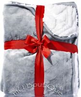 Bath Body Works Gray White Fleece Cable Knit Soft Perfect Christmas Blanket 2016
