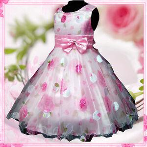 0c5deb2eb Kids Pinks Christmas Easter Party Wedding Flower Girls Dresses AGE ...