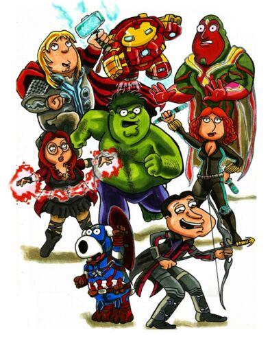 Family Guy Avengers mash up  11 X 17 Art Print Marvel Avengers Fan Art
