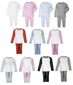 69abec8b2 100% Cotton BABY BOY GIRL TODDLER Plain Coloured Pyjama Set Long ...