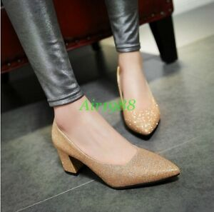 Sexy-Women-039-s-Pointed-Toe-Block-Heel-Court-Mary-Janes-Pull-On-Pumps-Roman-Shoes