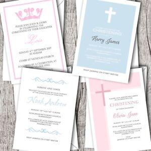 Christening Invitations Personalised / Baptism / Naming Day - Boy & Girl Options