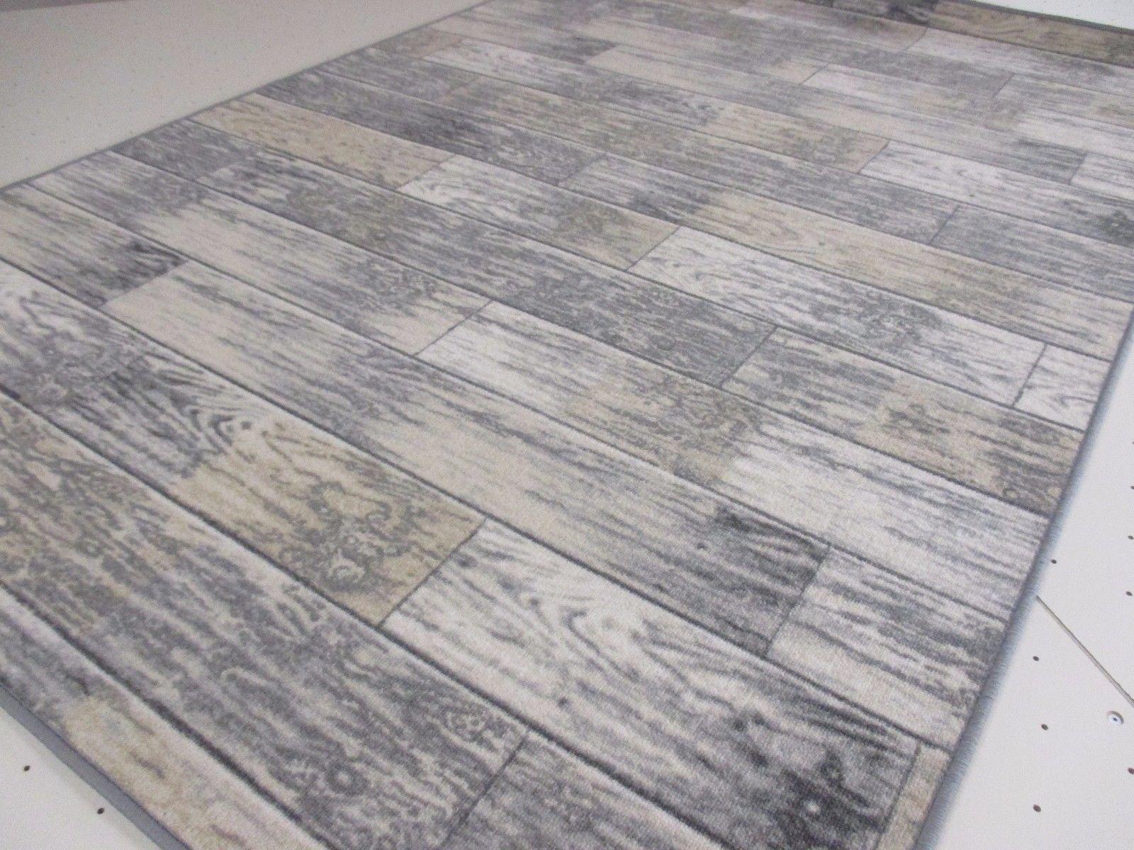Exclusiver Moderner Design Teppich Holz Optik Silber Grau 160 x 230 cm