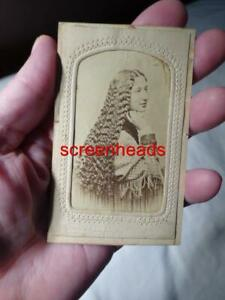 1800s-RARE-ANTIQUE-CDV-PHOTO-Civil-War-Era-YOUNG-WOMAN-LONG-HAIR-VG