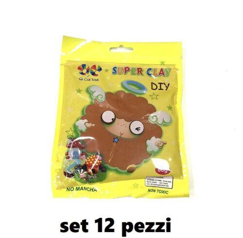 Set 12 Confezioni Plastilina Super Clay da 60gr Bambini Gioco Marrone hmj