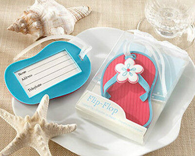Deep Pink and Blue Flip Flop Beach Luggage Tags Bridal Shower Wedding Favors