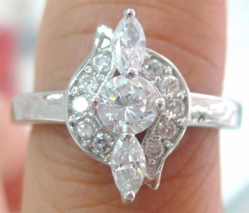 NEW 925 STERLING SILVER WHITE CZ DRESS LADIES ENGAGEMENT RING SIZE L N P R
