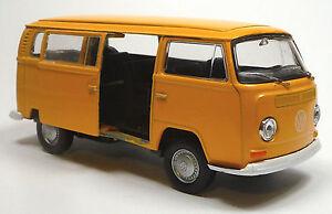 VW-Bus-1972-Bulli-T2-gelb-Modellauto-Spritzguss-1-37-mit-Schiebetuer-WELLY
