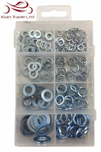 165PC flat /& ressort rondelles set-box case diy assortiment rondelle acier