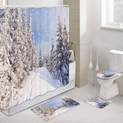 Details about  /Winter snow forest Shower Curtain Toilet Cover Rug Mat Contour Rug Set