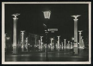 WW2-WWII-Germany-3rd-Reich-Postcard-German-Hitler-Era-Berlin-At-Night-RPPC-1942