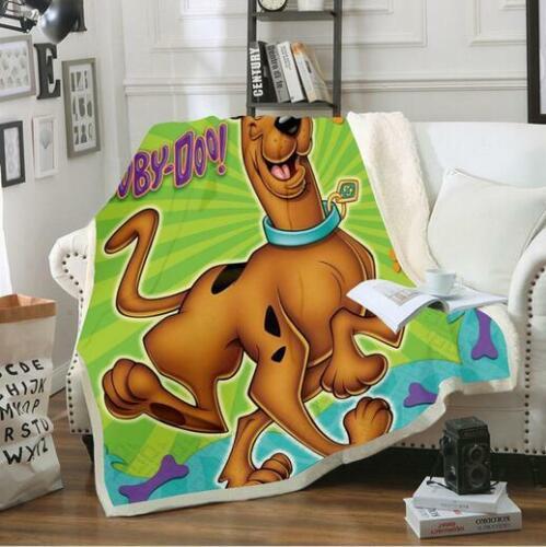 Scooby Doo 3D Print Sherpa Blanket Throw Sofa Bed Warm Fleece Single Double