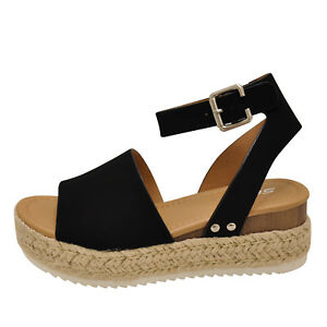 19e9a44d109 Image is loading Soda-TOPIC-Black-Women-039-s-Platform-Wedge-