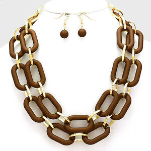 Double-Row-Classic-Oblong-Hoop-Link-Chain-Necklace-amp-Earring-Set-Choc-Goldtone