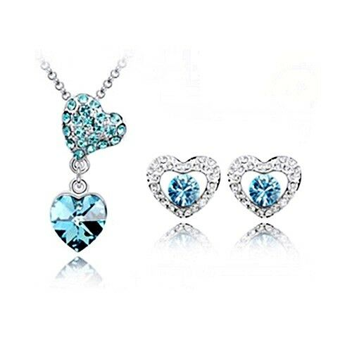 Parure argenté coeur bijoux fantaisie neuf cristal bleu turquoise transparent