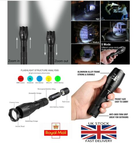 Details about  /CREE LED pocket Zoom Flashlight Tactical 8000LM XML-T6 Torch Lamp Waterproof UK