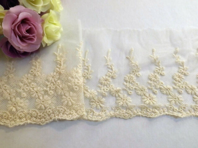 Beige Embroidered Single Edge Tulle Lace Trim 11 cm #6CM778B  1 metre