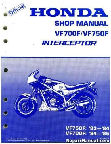 1983 1984 1985 Honda VF700F VF750F Interceptor Motorcycle Service Manual 61...