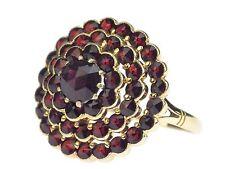 Art Deco Damen 14 K 585 Gelb Gold Böhmischer Granat Blume Ring handgefertigt