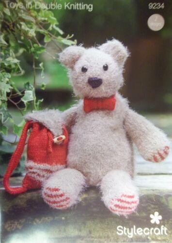 Stylecraft DK Toy Knitting pattern Bear and knapsack Medium Large 9234
