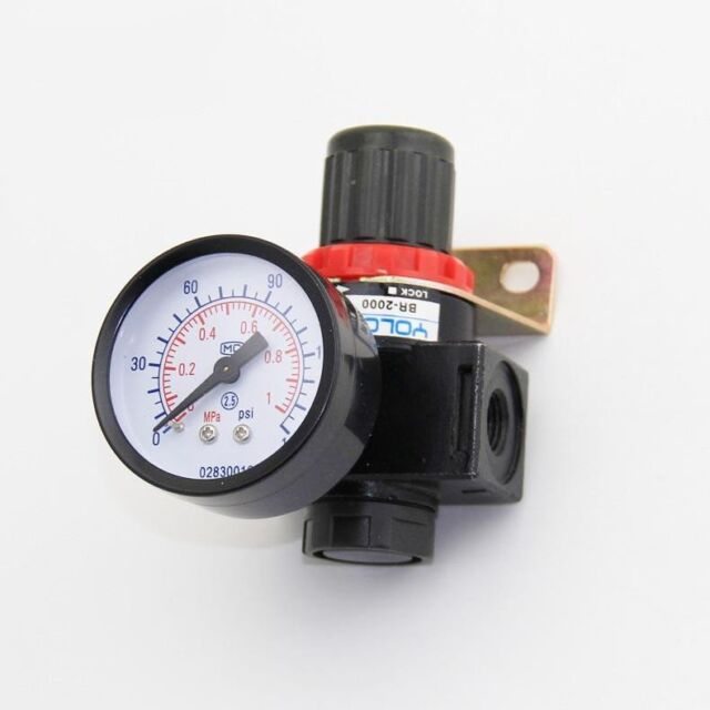 BR4000 G1//2 Air Compressor Pressure Valve Switch Control Regulator Compressor Pressure Regulating with Gauges Air Pressure Control Valve