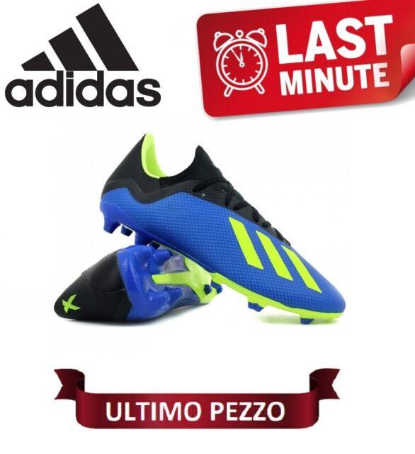 Scarpe Uomo Calcio Adidas X 18.3 FG J Originali EU: 38 23 US: 6 Blu Giallo Nero