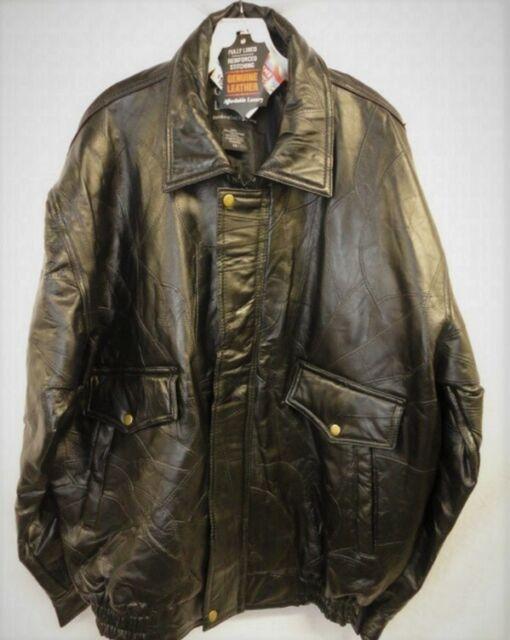 BOMBER JACKET Black Genuine Leather Flight Coat Motorcycle Biker Lined Warm