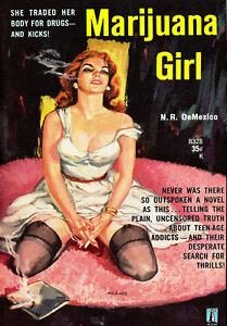 AD45-Vintage-1950-039-s-Marijuana-Girl-Drugs-Novel-Poster-A4-Re-Print