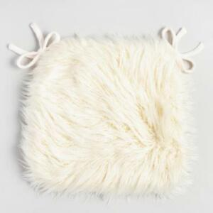 Details about Chair Pad Faux Sheepskin Ivory Fur with Ties Kitchen Dining  Room Comfort Seating