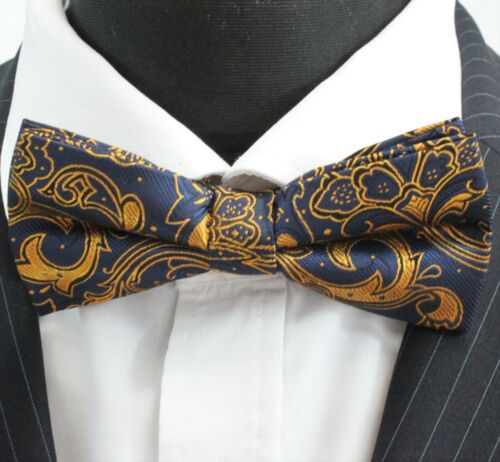 PN05 Dark Blue with Gold Floral Premium Quality Bow Tie Pre-Tied