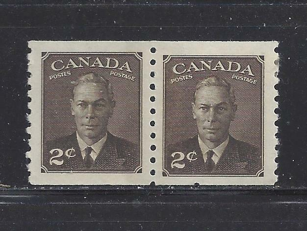 CANADA - 298 -SE-TENANT PAIR - MH/MNH -  COIL STAMPS - 1950 - KING GEORGE VI