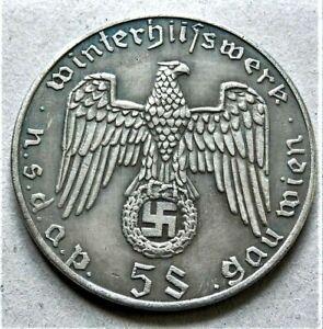 WW2-GERMAN-WINTERHILFSWERK-COMMEMORATIVE-COLLECTORS-COIN-5-SCHILLINGS