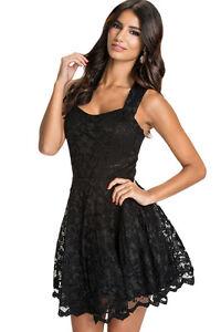 Mini-abito-donna-dress-women-039-s-in-pizzo-elegante-nero-taglia-l-cerimonia