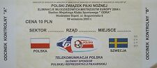 TICKET 9.9.2003 Polska Polen - Sweden Schweden