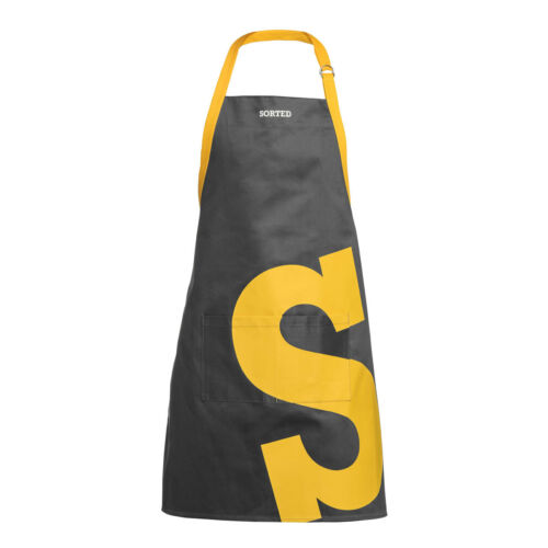 Sorted Apron Black Yellow Logo Cotton Kitchen Chef Cooking BBQ Halter Bib Pocket