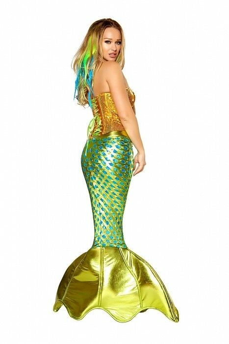 Sirène Costume Taille Vert S 32-34 Mermaid costume or Vert Taille Jupe Corsage mardi gras da481a