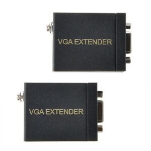VGA-Signal-60M-Extender-Amplifier-Converter-Single-RJ45-CAT-5E-6-Ethernet-Cable