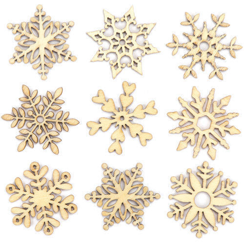 10 assorted wooden snowflake xmas cut christmas gift tree hanging decor ornament ebay
