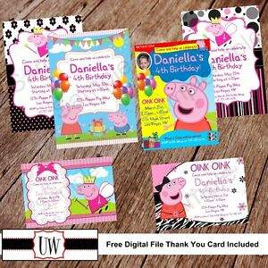 Details About Peppa Pig Invitation Invitations Printable Birthday Party Favor