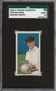 Rare 1909-11 T206 Hal Chase Holding Trophy Tolstoi Back New York SGC 35 / 2.5