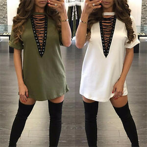 Women-V-Neck-Lace-Up-Loose-Cocktail-Evening-Party-Bandage-Mini-Dress-T-Shirt-Top