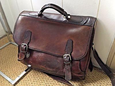 Vintage Leather Briefcase/Messenger Bag Men's 'Amiet Lock' Made In USA
