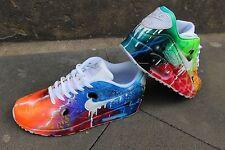 """Custom Nike Air Max 90 Blue Galaxy cortos aerógrafo graffiti """"White drip"""" única"""
