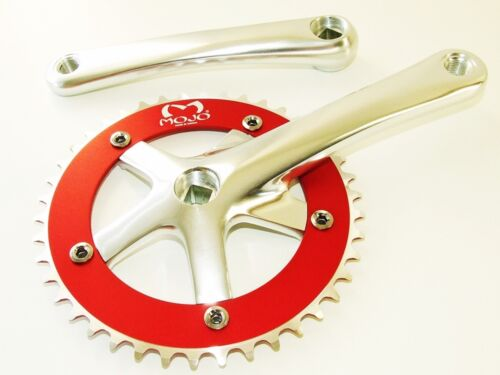 Fixed gear Single Speed Track Cranks Crankset 165mm 46t Silver Red