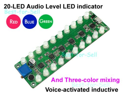 Dual 10 LED Music Spectrum Display Sound Control Audio Level Indicator VU Meter